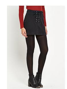south-lace-tie-denim-mini-skirt