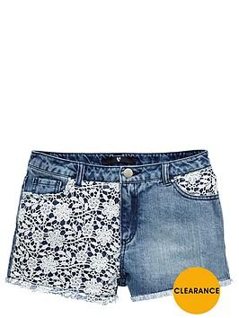 v-by-very-girls-crochet-front-denim-shorts
