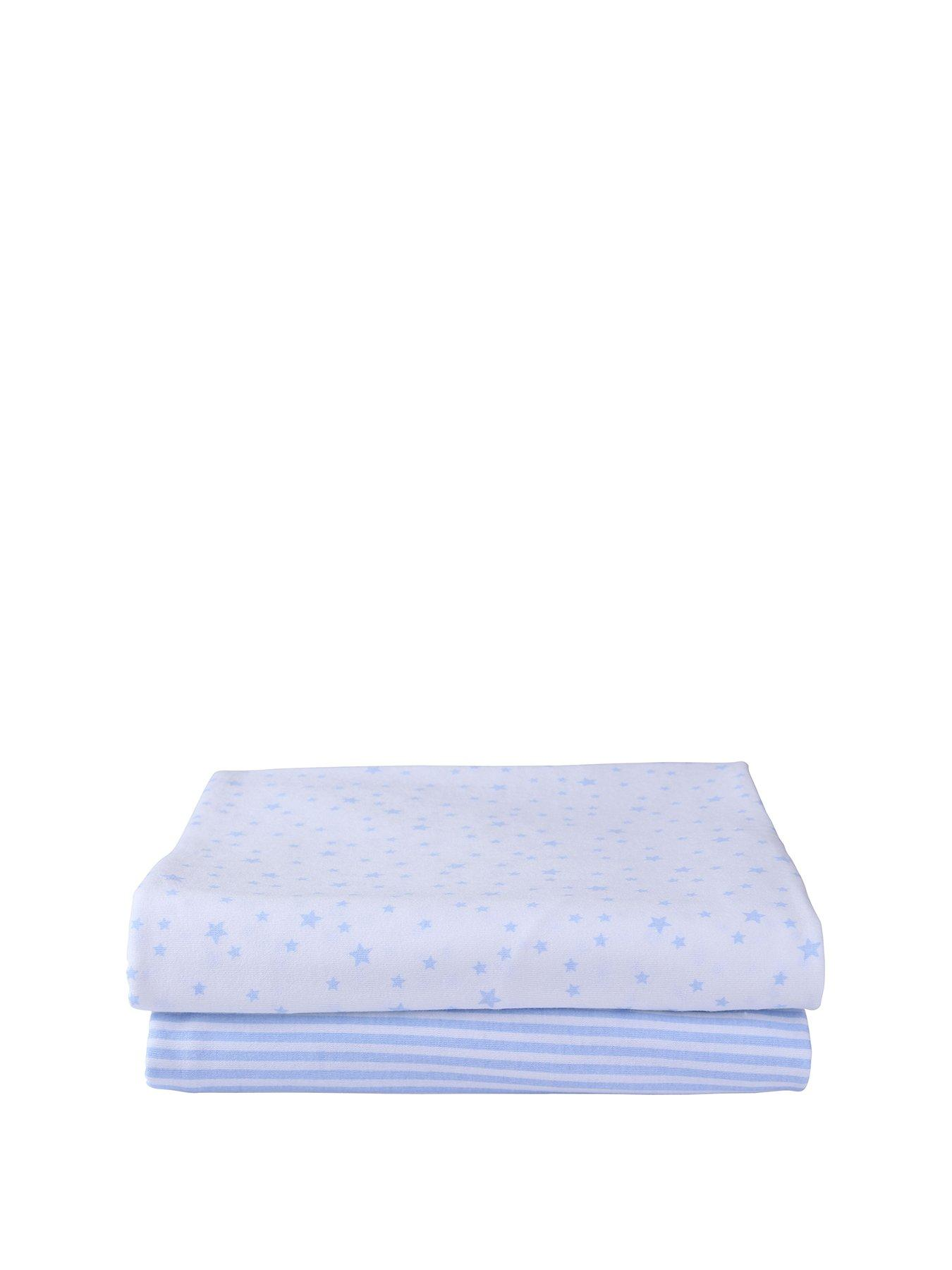 New Little Dreams Boutique Baby Blue Knitted Stripe Blanket 75 x 100cm Pram Cot