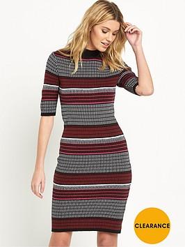 v-by-very-textured-stripe-funnel-neck-bodycon-dress