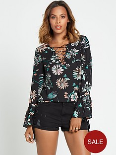 rochelle-humes-tie-front-blouse