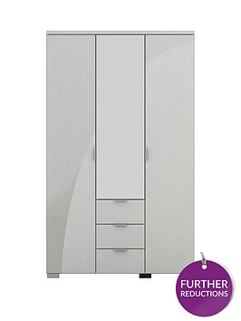 alexia-3-door-3-drawer-high-gloss-mirrored-wardrobe