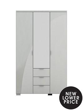 alexia-3-door-3-drawer-high-gloss-mirrored-wardrobe