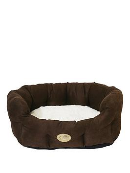 rosewood-choc-ampcream-faux-suede-oval-bed-24inch
