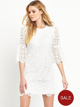 v-by-very-crochet-lace-fluted-sleeve-dress