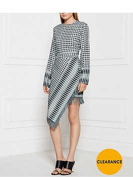 house-of-holland-fringed-hem-silk-wool-check-mini-skirtnbsp