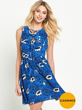 v-by-very-lace-up-ruffle-dress