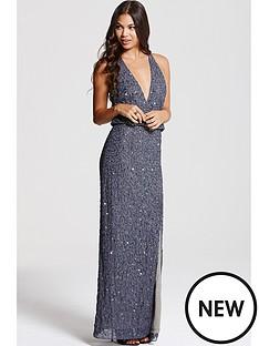 little-mistress-grey-deep-v-front-maxi-dress
