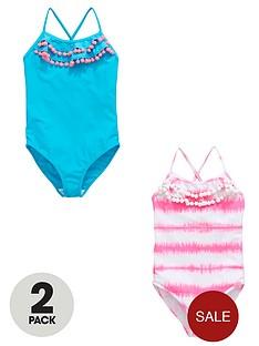 v-by-very-girls-ruffle-pom-pomnbsptrim-swimsuits-2-pack