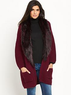 v-by-very-removable-faux-fur-trim-burgundy-rib-cardigan