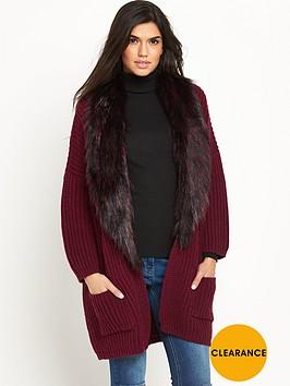 v-by-very-removable-faux-fur-trim-burgundy-rib-cardigan