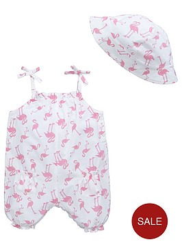 ladybird-baby-girls-bright-flamingo-woven-romper-and-hat-set-2-piece