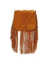 Suede Fringed Whipstitch Saddle Festival Bag