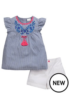 ladybird-girls-ticking-stripe-blouse-and-shorts-set-2-piece