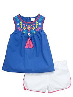 ladybird-girls-embroidered-tunic-and-shorts-set