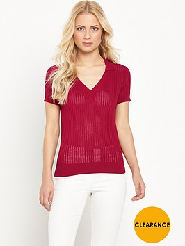 v-by-very-short-sleeve-sheer-knitted-polo-top