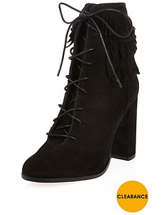 river-island-river-island-suede-leaf-trim-cuff-lace-up-black-ankle-boot