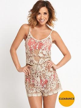 myleene-klass-metallic-crochet-beach-playsuit
