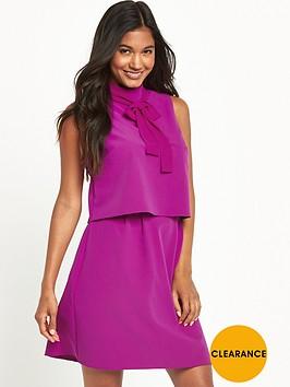 v-by-very-tie-neck-mini-dress