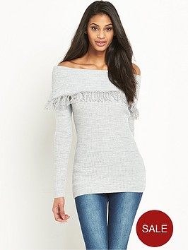 v-by-very-fringe-trim-ribbed-bardot-jumper