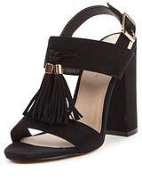 Pine Block Heel Tassel Front Sandals
