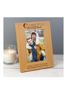 the-personalised-memento-company-personalised-to-the-moon-amp-back-oak-photo-frame
