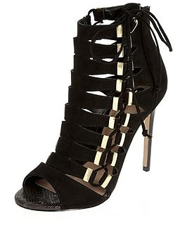 river-island-gold-trim-tie-up-heeled-shoe-boot