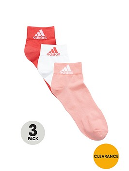 adidas-3-pack-ankle-sock-pink