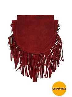 glamorous-suede-look-tassel-saddle-bag