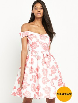 chi-chi-london-rose-print-bardot-full-midi-dress