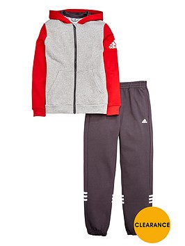 adidas-older-boys-fleece-hojonbsptracksuit-greyred