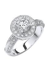 Rhodium Plated Clear Cubic Zirconia and Glass Vintage Button Ring