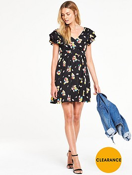 v-by-very-ruffle-sleeve-printed-tea-dress