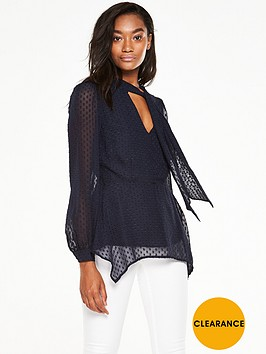 v-by-very-dobbynbsptie-neck-blouse