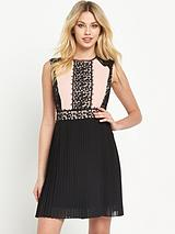 Lace Panel Pleat Dress
