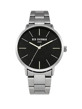ben-sherman-matte-black-dial-silver-tone-stainless-steelnbspbracelet-mens-watch