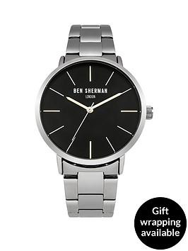 ben-sherman-matte-black-dial-silver-tone-stainless-steelnbspbracelet-mens-watch