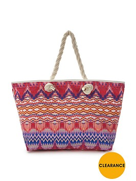 v-by-very-rio-chevron-print-beach-bag