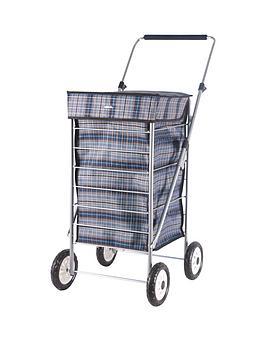 sabichi-blue-check-4-wheel-trolley