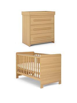 mamas-papas-haxby-cot-bed-and-dresser-oak