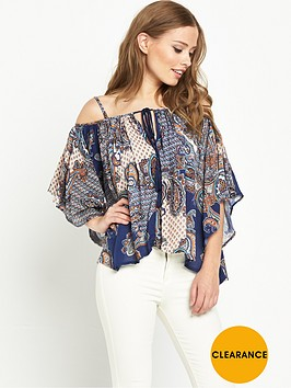 v-by-very-crinkle-strappy-printed-cold-shoulder-blouse
