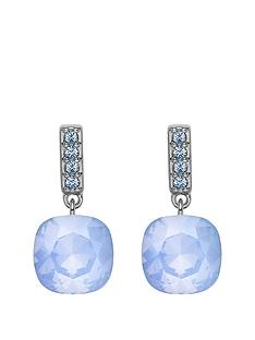 lola-and-grace-rhodium-plated-mini-blue-cocktail-earrings-with-swarovski-crystal