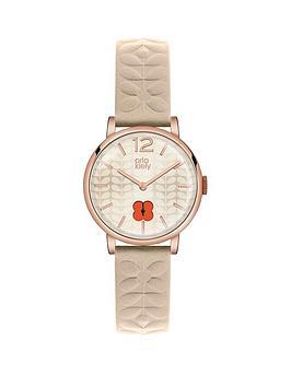 orla-kiely-orla-kiely-frankie-cream-flower-embossed-leather-strap-ladies-watch