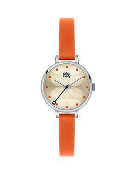 orla-kiely-orange-leather-strap-ladies-watch