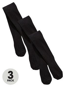 top-class-girls-flat-knit-tights-3-pack-black