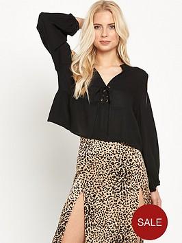 mink-pink-island-bliss-cold-shoulder-lace-front-blouse