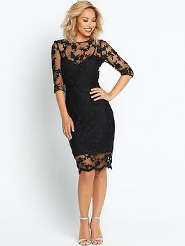 myleene-klass-3d-floral-pencil-dress-black