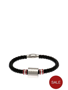 england-stainless-steel-and-leather-crest-red-stripe-bracelet