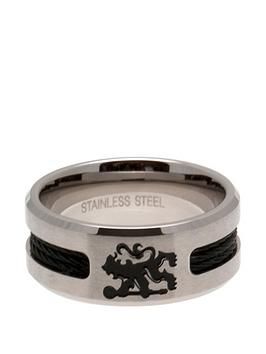chelsea-stainless-steel-black-inlay-crest-ring