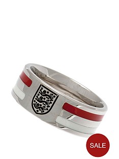 england-stainless-steel-red-stripe-crest-ring